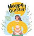 smiling woman holding cake with lit candle vector image vector image