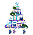 stylized shelf with christmas decorations cute vector image vector image