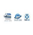train logo original design set railway transport vector image