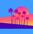 tropical palm trees on a sunset background a vector image vector image