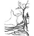 sketch of old trees landscape vector image