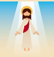 ascension of jesus christ with blue sky vector image