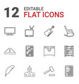 12 antique icons vector image vector image