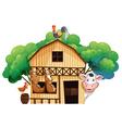 A farmhouse with animals vector image vector image