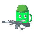 army mug character cartoon style vector image vector image