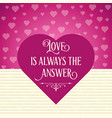 beautiful love card with hearts vector image vector image