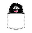 black fluffy monster silhouette in pocket vector image vector image
