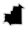 black silhouette of the country mauritania with vector image