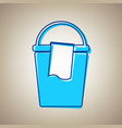 bucket and a rag sign sky blue icon with vector image vector image