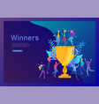 business team success hold golden winner cup vector image