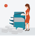 business woman using copy print machine vector image