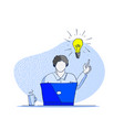 businessman working and creation of ideas bulb vector image