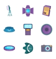 Camera accessories icons set cartoon style vector image vector image