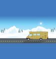 caravan car vacation in winter holiday trip vector image vector image