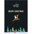 christmas greeting card with snowman riding flying vector image