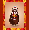 cute bear in white knitted scarf and hat holding vector image vector image