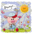 cute pig on the meadow with flowers vector image vector image