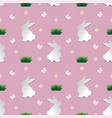 cute white rabbit seamless repeating pattern vector image vector image
