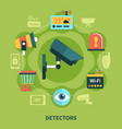 detectors home security round composition vector image vector image