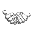 doodles of hands hold blank space vector image vector image