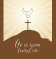 easter banner with cross and glowing dove vector image vector image