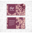 gift voucher with a realistic bow and heart vector image vector image