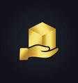 gold gift box hand logo vector image vector image