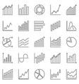 graph and chart outline icons - statistics vector image