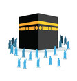 hajj pilgrimage silhouette walking around kabaa vector image vector image