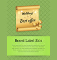 holidays best offer poster vector image vector image
