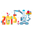 horizontal of the gnome operates the machine vector image vector image