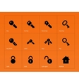Key icons on orange background vector image vector image
