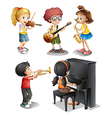 Kids with musical talents vector image vector image