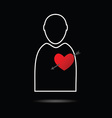 man icon with heart vector image vector image