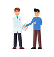 patient shakes hands with the doctor vector image vector image