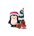 penguin in santa claus hat with presents and vector image