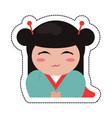 portrait kokeshi girl character vector image