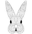 Rabbit head Coloring for adults vector image vector image