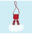 Red handbag and shoes with cloud copyspace vector image vector image