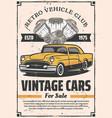 retro cars sale rental and repair service vector image vector image