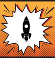 rocket sign comics style vector image vector image