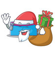 santa with gift pencil case character cartoon vector image vector image