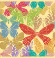seamless pattern with colored hand drawn butterfly vector image
