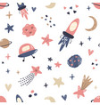 seamless pattern with cosmic objects planets vector image