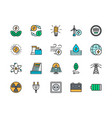 set energy industry color line icons power vector image