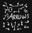 set hand drawn arrows doodle on black vector image vector image
