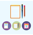 Set icons with clipboard notebook calendar leaf vector image