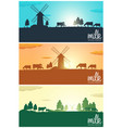 set of milk banners milk natural product rural vector image