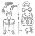 set police and equipment vector image