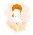 Silhouette woman in orange turban vector image vector image